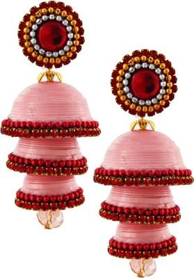Jaipur Raga Hancrafted Single Stud Pink Triple Jhumka Brass Jhumki Earring