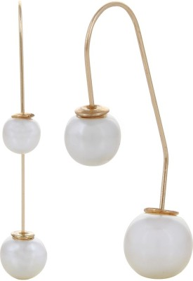 Fayon Party Style Diva White Long Twist Pearl Alloy Drop Earring