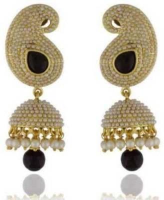 Happyshoppi Leaf Shape Pearl Brass, Copper Jhumki Earring