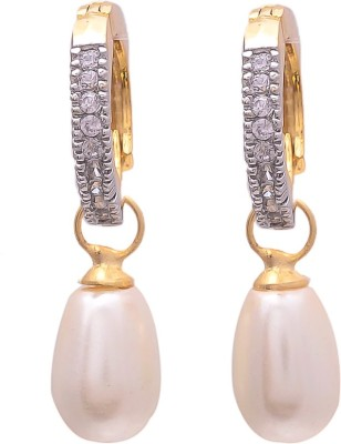 My Sara White Drop Cubic Zirconia Brass Drop Earring