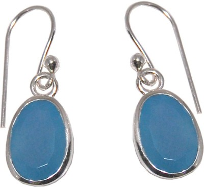 Arvino Pillow of Blue Chalcedony Sterling Silver Dangle Earring