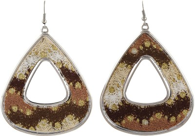 Gracent Rounded Triangle Beige, Brown, White Metal Dangle Earring