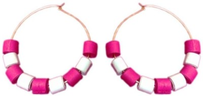 Vaishali's Quilling Jewellery Pink and White colour Paper Hoop Earring