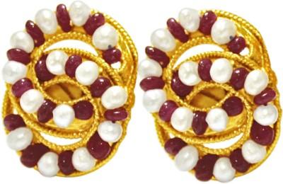 Surat Diamond Stylish Sensation Pearl, Ruby Metal Stud Earring