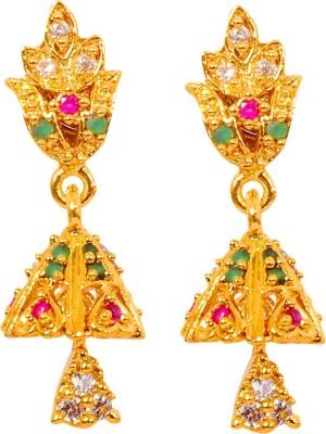 Harini Designer Ruby, Emerald Alloy Jhumki Earring