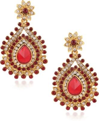 Fashionaya Red Leaf Cubic Zirconia Alloy Drop Earring
