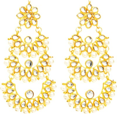 Fashionography The Tripple Kundan Chandbalis Alloy Chandbali Earring
