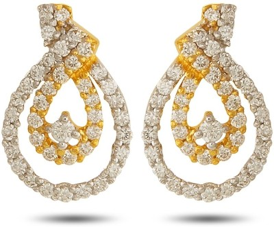 P.N.Gadgil Jewellers Loopy Yellow Gold 18kt Diamond Stud Earring(Yellow Gold Plated) at flipkart