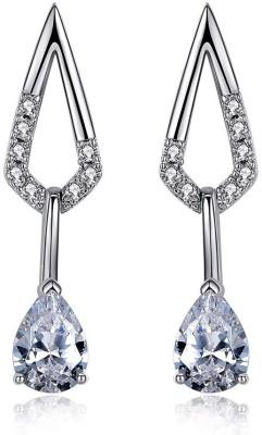 Wearyourfashion Sparkling Water Droplet Swarovski Crystal Alloy Drop Earring