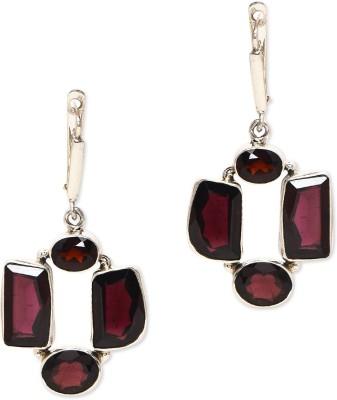 Watch Me Stone Collage Earrigs- Wine Sterling Silver Dangle Earring