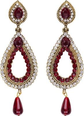 Mitthi Jewels Party Wear Maroon Traditional Type Designer Earrings Alloy Drop Earring
