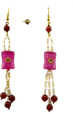 Bharat Sales pink pearl Shining Designer earring Cubic Zirconia Copper Tassel Earring