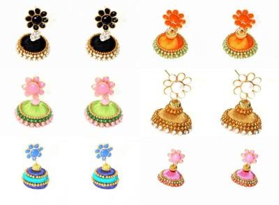 Craftworks black, orange, green, gold, pink and blue color Silk Dori Jhumki Earring