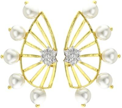 Shubh 4u Beautiful Pearl Cubic Zirconia Alloy Cuff Earring