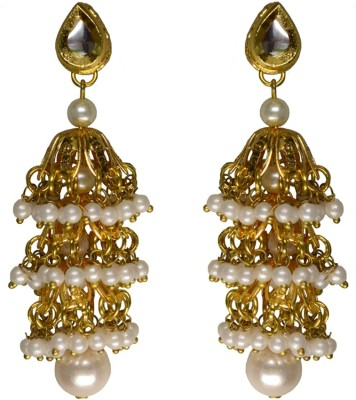 Rasaam pearl drop Beads Alloy Jhumki Earring