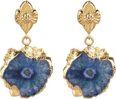 The Kewl Korner Druzy Crystal Brass Drop Earring
