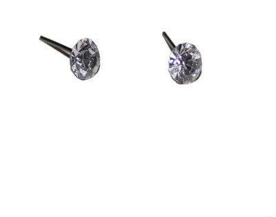 Bandish White Unisex Metal Stud Earring
