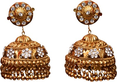 Neelam Fashions and accessories gold color with white stone Alloy Jhumki Earring