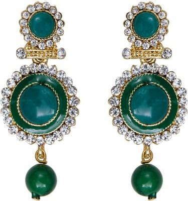 Mitthi Jewels Party Wear Green Traditional Type Designer Earrings Alloy Drop Earring