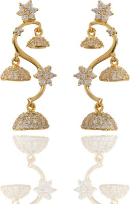 Chaahat Fashion Jewellery Gold Plated Flower Shaped Cubic Zirconia Copper Jhumki Earring