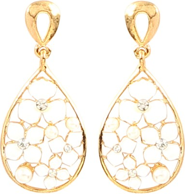 Jewel Funk white and Gold dual toned floral Alloy Drop Earring