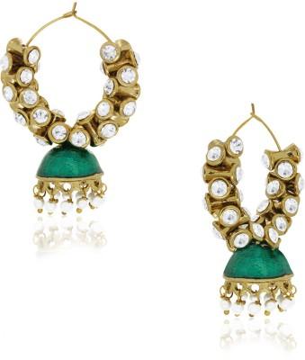 Spargz Antique With Green Enamel Alloy Hoop Earring