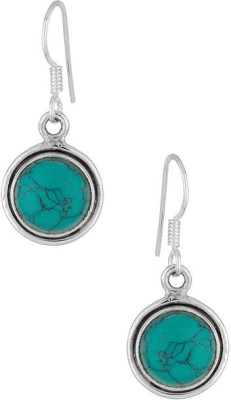 Factorywala STERLING 92.5 STUDDED WITH TREATED TURQUOISE Silver Hoop Earring