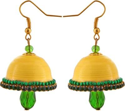 Jaipur Raga Hancrafted Yellow Hook Jhumka Brass Jhumki Earring