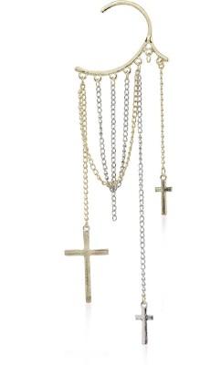 Kalaplanet Cute Gold Color Tassels Cross Pendant Charm Alloy Cuff Earring