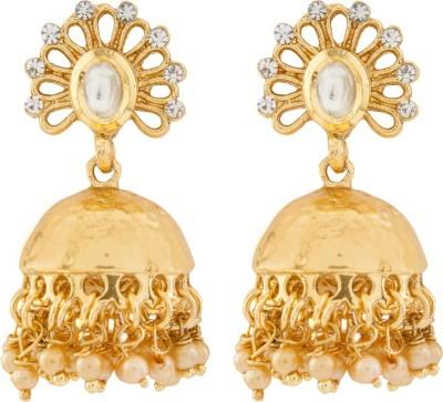 Aashvi Creation Gold Plated Cubic Zirconia Alloy Jhumki Earring