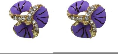 Modish Look Purple Small Tops Brass Stud Earring