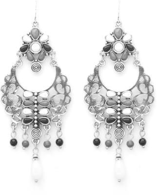 Madclozet Victorian Monochrome Metal Dangle Earring