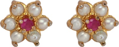 Maisha Pearl with Pink stone Alloy Stud Earring