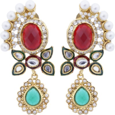Hyderabadi Abhushan Red Stone Alloy Drop Earring