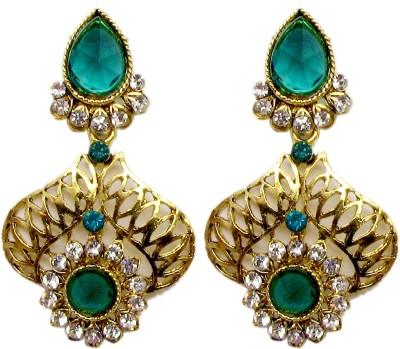 Triumphin Sparkling Green Crystal Alloy Drop Earring