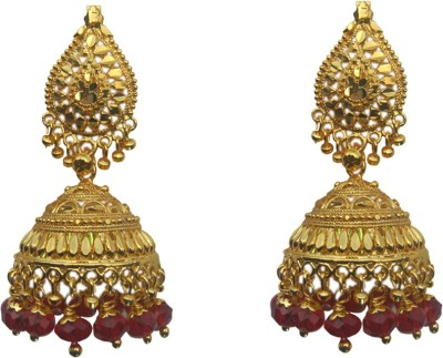 Sankisho Golden Red Metal, Alloy, Glass Jhumki Earring
