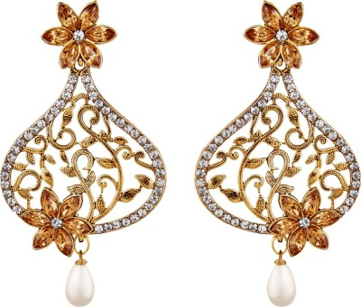 REEVA FASHION JEWELLERY FLORAL WITH LCT STONRS Alloy Drop Earring