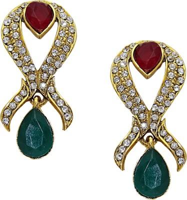 Aarnaa Ruby Greeen Tilak Alloy Drop Earring