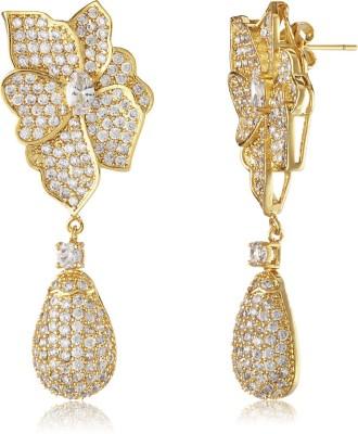Shaze Luxe Floral Brass Drop Earring