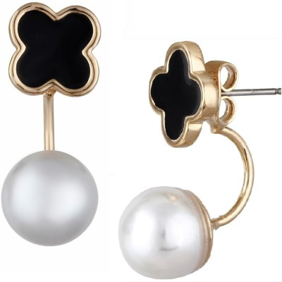 Aaishwarya Pearly And Black Clover Ear Jackets Pearl Alloy Stud Earring at flipkart