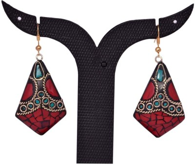 Tradition India TI209 Handmade Designer Stone Studded Traditional Lac Worked Brass Drop Earring