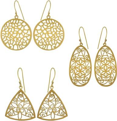 925 Silver Well Designed Brass Combo Alloy Earring Set