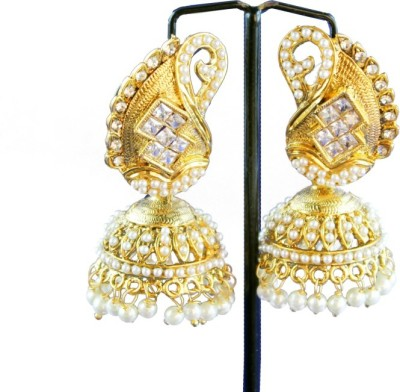 Ratnaraj India Modern Designe Diamond Stone Pearl Copper Jhumki Earring