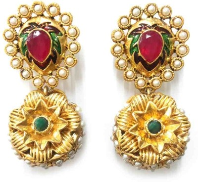 Aarnaa Sunflower Gold Plated Alloy Drop Earring