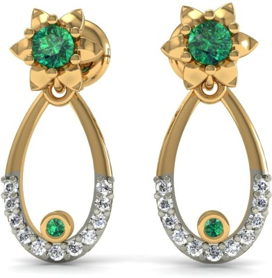 R S Jewels Creative Designs Yellow Gold 18kt Diamond, Emerald Drop Earring