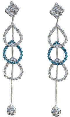 ACW Indo Western Silver Plated White and Light Blue Stones Hanging Earring for Women Alloy Dangle Earring