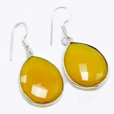 Silvesto India 1456 Quartz Sterling Silver Drop Earring, Dangle Earring