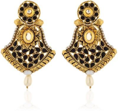 Zaveri Pearls Black Kundan Zinc Dangle Earring