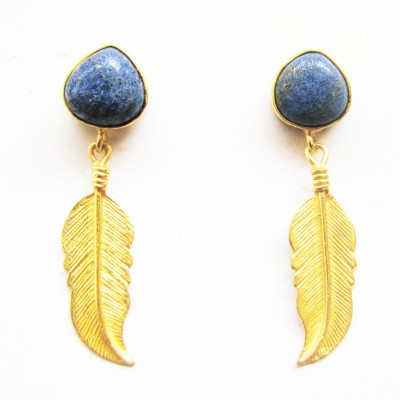 Gharaz semi precious Gold plated Lapis Lazuli Brass Dangle Earring