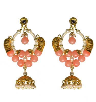 Rasaam Peach bead big jhumkis Beads Alloy Chandbali Earring